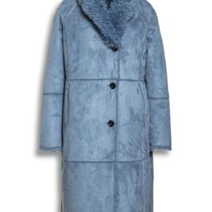 Manteau réversible imitation /daim/laine bouclée