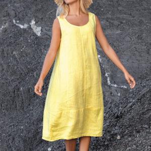 Robe en lin jaune ou rouge